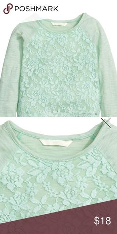 BNWT H&M Girls Top Beautiful Mint green with lace overlay top. H&M Shirts & Tops Tees - Long Sleeve