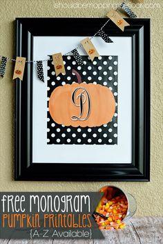 Free Monogram Pumpkin Printables | A-Z Available | 8x10 | Instant Downloads