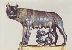 According to the legend, when Numitor, grandfather of the twins Romulus and Remus, was overthrown by his brother Amulius, the usurper ordered the twins to be cast into the Tiber River. They were rescued by a she-wolf who cared for them until a herdsman, Faustulus, found and raised them. The bronze statue of the Capitoline Wolf has been housed since 1471 in the Palazzo dei Conservatori on the Campidoglio (the ancient Capitoline Hill), Rome, Italy.