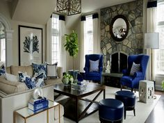 Morgan Harrison Home - living rooms - wingback chairs blue wingback chairs fireplace seating floor to ceiling fireplace stone fireplace. Brown Living Room Decor, Apartment Living Room Design, Blue Chairs Living Room, Living Room Chairs, Apartment Living Room, Trendy Living Rooms, Coastal Living Rooms, Navy Blue Living Room, Fireplace Seating