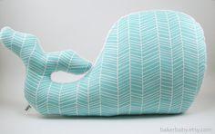 Whale Pillow, Modern Nautical Nursery Decor, aqua nursery, pond herringbone on Etsy, $34.58 AUD