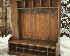 XL Hall Tree Coat Rack Storage Bench Custom di JeraldBuildsStuff