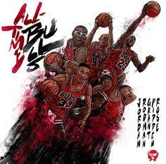 Artist: Kim MinSuk (김민석) - All Time Bulls #Yellowmenace #basketballart ● http://yellowmenace8.blogspot.com/2015/04/art-minsuk-kim-nba-2014-15-season-in.html
