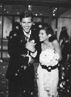 bride and groom exit - flower petals