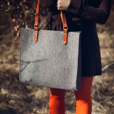 Felt Bag With Leather Handles  HIPPO BAG by MOOSEdesignBAGS, $93.60