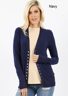 Snap Button Sweater Cardigan W/Detail Curvy Girl Fashion, Plus Size Fashion, Ladies Boutique, Outfit Of The Day, Preppy, Sweater Cardigan, Winter Outfits, Autumn Fashion, Buttons