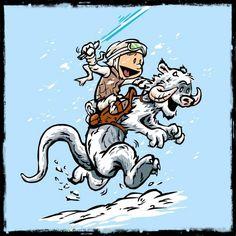 Mashups de Calvin e Haroldo como personagens de Star Wars.