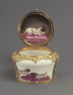 Meissen Pug Snuffbox, 1761, Germany, Hard-paste porcelain, gold, silver, diamonds, rubies. | The Met