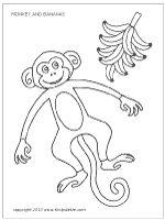 Monkey and bananas coloring page