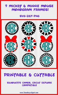 Mickey and Minnie Monogram Frames cut files for Silhouette Cameo or Cricut Explore! ---------------------------------------------------- Disney SVG Files. Mickey Mouse SVG. Minnie mouse SVG. Studio files and clipart included. Disney svg bundle.