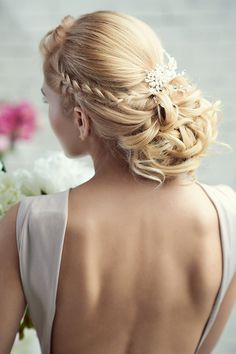 Wedding Hairstyle with plaid updo &headdress