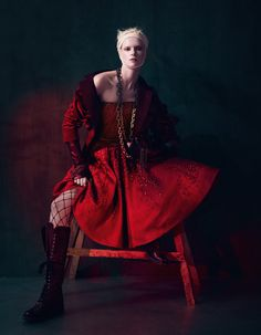Seasonally opulent crimson eveningwear gets a hard-edged, tough-girl makeover. Photography and styling by Damian Foxe Girl Makeover, Deep Winter Colors, Red Fashion, Womens Fashion, Fashion 2017, Tough Girl, Velvet Jacket, Red Aesthetic, Autumn Inspiration