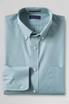Men's Traditional Fit No Iron Buttondown Broadcloth Dress Shirt from Lands' End