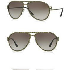 5977cba05df93 Versace 62MM Crystal-Trim Pilot Sunglasses ( 515) ❤ liked on Polyvore  featuring accessories