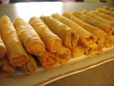 Sigara boregi (spinach feta rolls) is a Turkish cigar shaped pastry made with feta cheese and Filo dough. This fried pastry is perfect with coffee, but can be eaten as an appetizer or side dish. via @SparkPeople