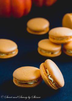 Pumpkin French Macarons Recipe: almond flour, powdered sugar, egg whites, cream of tartar, sugar, pumpkin spice bakery emulsion, orange jail food coloring, unsalted butter, canned pumpkin purée, heavy cream, salt and cinnamon. †▼▼†