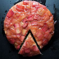Saveur: Rhubarb Upside-Down Cake For this cake made in the style of a tarte Tatin, rhubarb is caramelized until soft before being topped with batter and baked. Sweet Recipes, Cake Recipes, Dessert Recipes, Best Rhubarb Recipes, Rhubarb Upside Down Cake, Dessert Aux Fruits, Just Desserts, Spring Desserts, Rhubarb Desserts