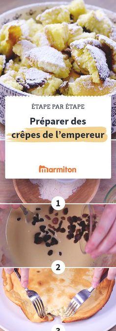 Les crêpes de l'empereur sont exquises et très moelleuses. Et vous êtes sûrs de les réussir en suivant notre pas à pas photo #recette #marmiton #recettemarmiton #cuisine #crepe