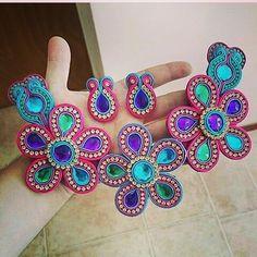 Soutache Jewelry, Shibori, Bb, Embroidery, Crochet, Earrings, Handmade, Outfits, Instagram