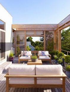 Interesting idea for creating a lanai that partially blocks views off and gives the sense of a room