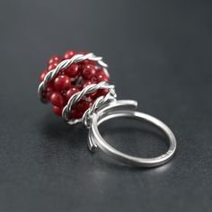 Unique ring twisted silver wire ring with red by emmanuelaGR