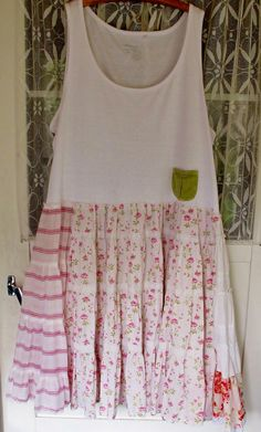 Shabby pink roses... Plus size upcycled jersey dress