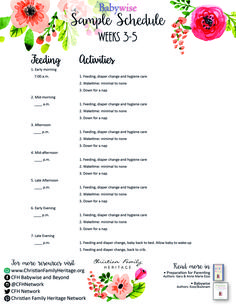Weeks -Babywise Sample Schedule helps parents 'begin as you mean to go'! Julie Young, Baby Growth, Sleep Schedule, Christian Families, Parents, Printables, Activities, Education, Dads