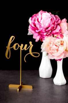 Introducing my gold wedding table numbers--now freestanding with a base! by Better Off Wed on Etsy www.betteroffwed.etsy.com #weddingtablenumbers #tablenumbers #goldtablenumbers #goldwedding