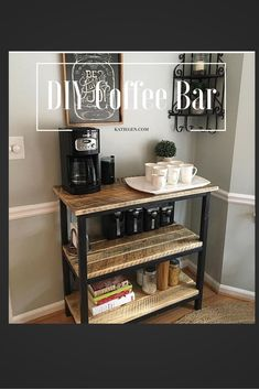 How to build a modern farmhouse coffee table - Couchtisch DIY - Coffee Coffee Bars In Kitchen, Coffee Bar Home, Home Coffee Stations, Coffee Bar Ideas, Office Coffee Station, Coffee Station Kitchen, Diy Coffe Bar, Beverage Stations, Diy Coffee Shelf