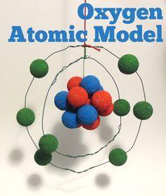 Oxygen Atom Model Styrofoam   oxygen atomic model with wire, styrofoam balls, and paint