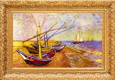 Vincent Van Gogh Boats of Saintes-Maries Museum Quality Printed Art & Frame $8.99