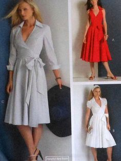 Collared Wrap Dress Sewing Pattern UNCUT by latenightcoffee