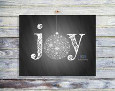 Joy Christmas Printable - Christmas Wall Art - Holiday Joy Art Print - Joy Christmas Sign - Christmas Chalkboard Print - INSTANT DOWNLOAD