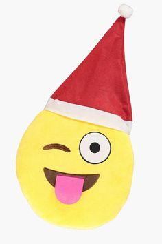 boohoo Wink Christmas Emoji Cushion