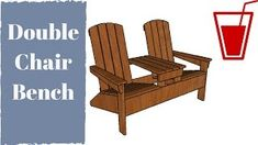 Adirondack loveseat with table plans - Woodworking Challenge Adirondack Chair Plans, Adirondack Furniture, Outdoor Furniture, Chair Bench, Diy Chair, Colorful Furniture, Modern Furniture, Outdoor Chairs, Outdoor Decor