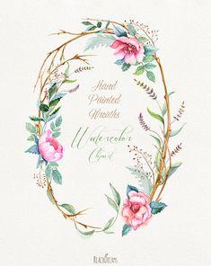 Ghirlande di fiori acquerello con elementi floreali di ReachDreams