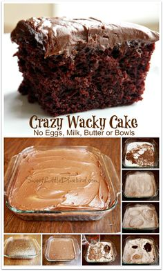 CRAZY CAKE, also known as Wacky Cake & Depression Cake - No Eggs, Milk, Butter, Bowls or Mixers! Super moist and delicious. Go-to recipe for egg/dairy allergies. Great activity to do with kids. Recipe dates Vegan Desserts, Just Desserts, Delicious Desserts, Dessert Recipes, Yummy Food, Party Desserts, Egg Free Desserts, Lactose Free Desserts, Desserts With No Eggs