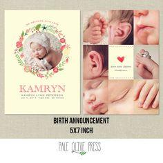 Birth Announcement PSD Template Photo Card_GIRL_FLORAL WREATH