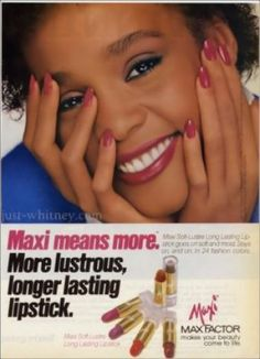 an early modeling photo of Whitney Houston for Max Factor Whitney Houston, Vintage Makeup Ads, Vintage Ads, Vintage Trends, Vintage Black Glamour, Vintage Beauty, Retro Ads, Vintage Advertisements, 80s Ads