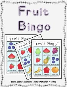Fruit Bingo theme.  This Bingo game will work well with a small group of prek students.  It can also be used with older students with special needs or English language learners.