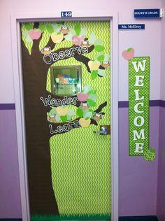 """""""OWL"""" theme classroom door"""