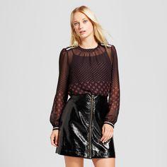 Women's Long Sleeve Rib Trim Blouse - Who What Wear Black/Burgundy Polka Dot Xxl, Gray
