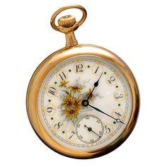 Floral Dial Waltham Rose Gold Filled Pocket Watch