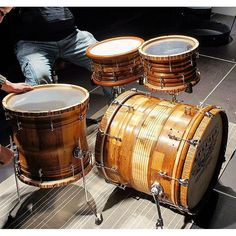 A set of the Hand Carved Steffen Custom Sculpted Drums from Serenity Custom Drums in the U.K.