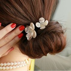 [$0.68] Camellia flower hair rope (Specification: Double flowers section )