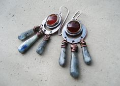 Gypsy Earrings with Carnelian and Kyanite by SilviasCreations, $98.00