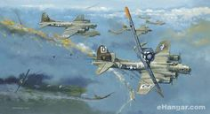 Flying Fortresses of the 100th Bomb Group under attack by Luftwaffe Focke Wulf 190′s enroute to Germany. By Robert Bailey