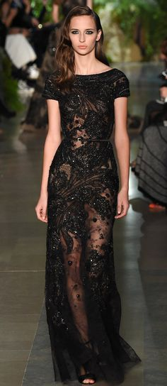Ellie Saab Black Beaded Gown