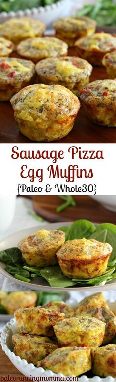 Pizza Egg Muffins (Paleo & Sausage Pizza Egg Muffins {Paleo and - easy paleo, and low carb breakfast or brunch - great to make ahead!Sausage Pizza Egg Muffins {Paleo and - easy paleo, and low carb breakfast or brunch - great to make ahead! Low Carb Recipes, Whole Food Recipes, Diet Recipes, Cooking Recipes, Healthy Recipes, Egg Recipes, Sausage Recipes, Whole30 Recipes, Paleo Meals