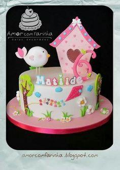 Too sweet bird & birdhouse birthday #cake.